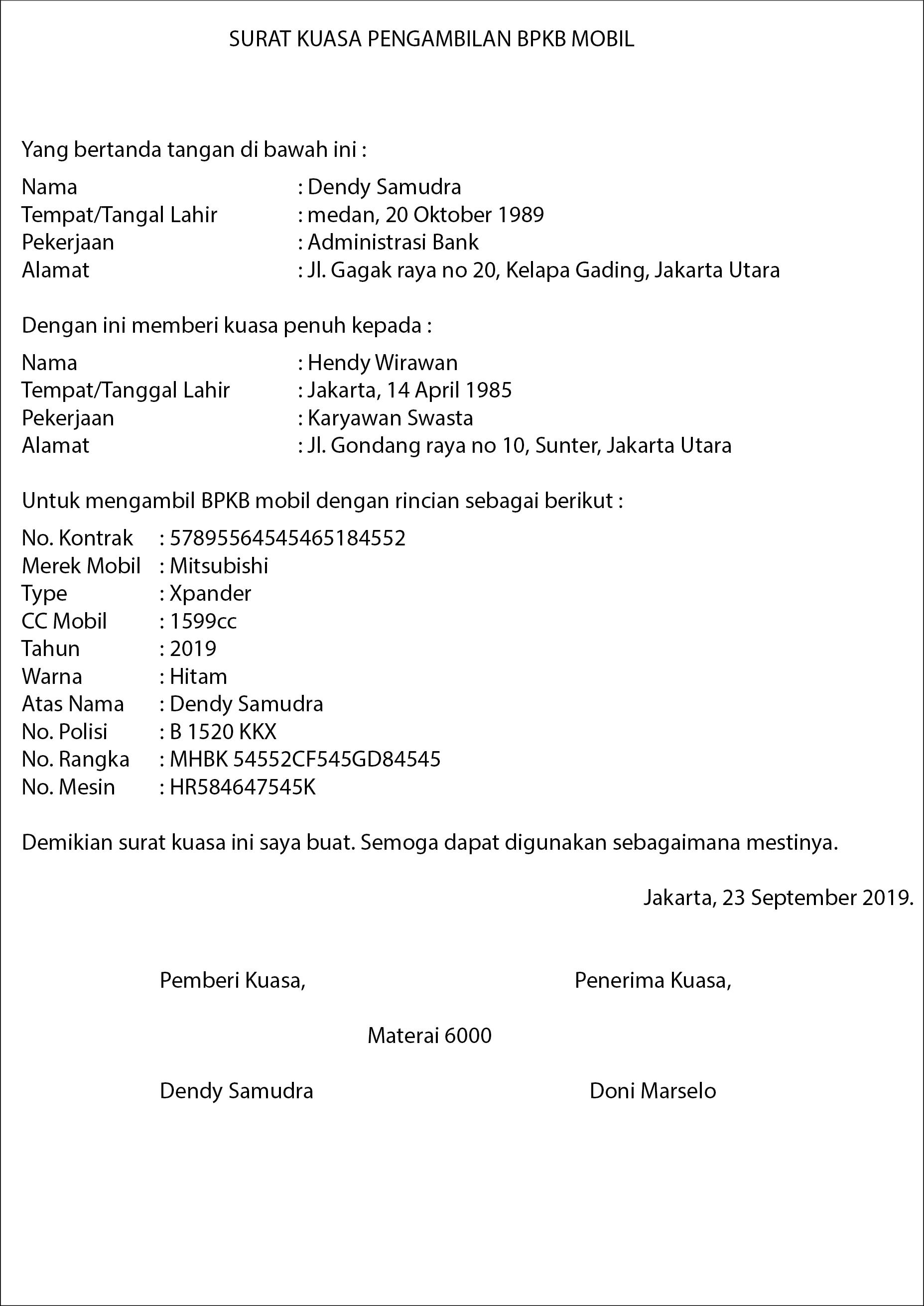 Contoh Surat Kuasa Pengambilan BPKB OTR.id
